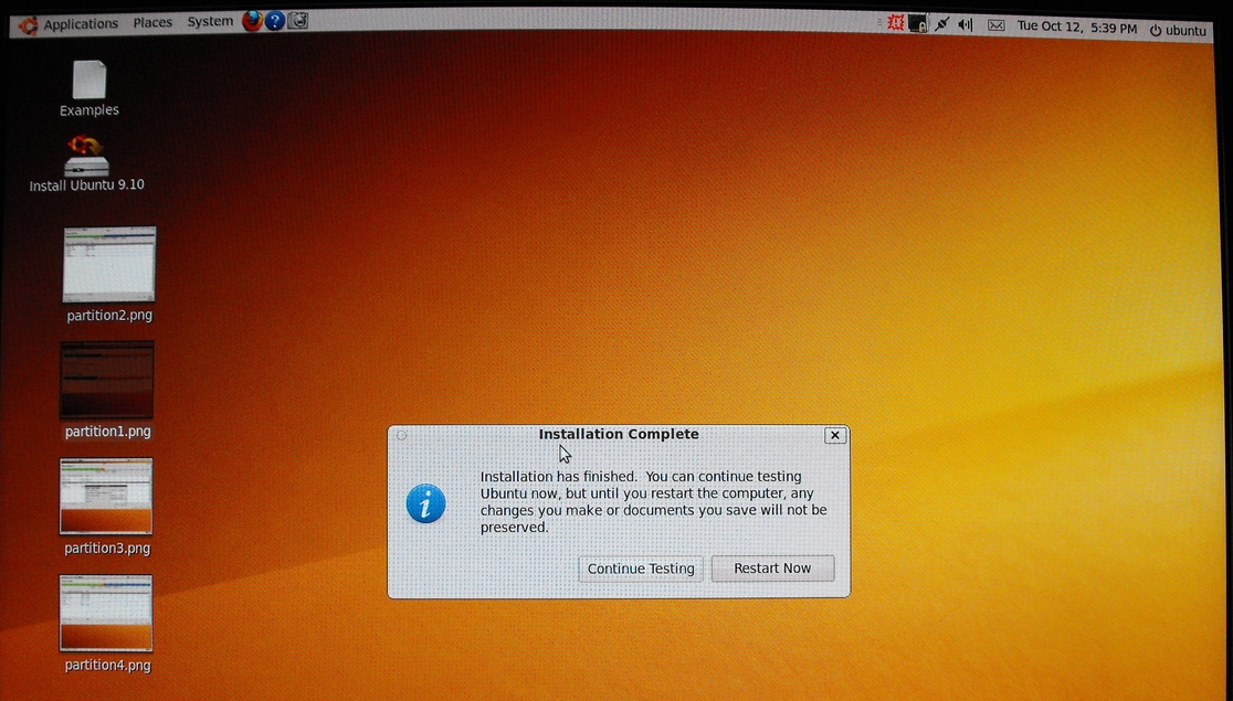 Screenshots of installing Ubuntu 9 10 over an old Xandros partition